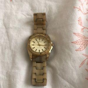 Gold and cream Anne Klein watch